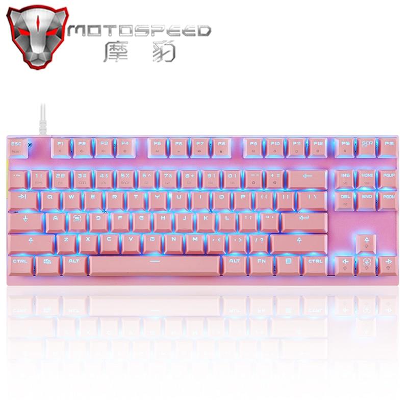Оригинальная игровая механическая клавиатура Motospeed K82, проводная USB клавиатура с RGB светодиодный Ной подсветкой, 87 клавиш, английская/Русска...