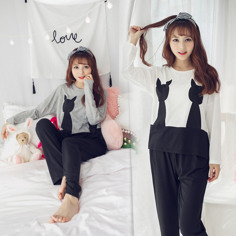 Spring Pajamas Women's Thin Long Sleeve Sweet Cute Casual Pullover Knitted Cotton Homewear Set A Generation Of Fat