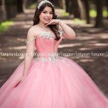 Eeqasn-Vestidos de quinceañera con cuentas rosas, vestido de baile de cristal brillante, Vestidos de princesa de 16 años, 15 anos