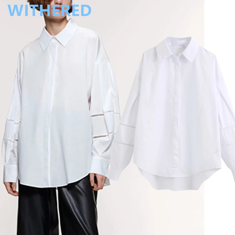 Withered England High Street Vintage Oversize Lace Splicing Blouse Women Blusas Mujer De Moda 2020 Shirt Womens Tops And Blouses