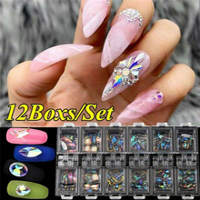 цена на 12 Boxs/Set 3D AB Glitter Diamond Gems Nail Glitter Rhinestone Manicure Tips Glass Crystal Nail Art Decor Nail Art Decorations