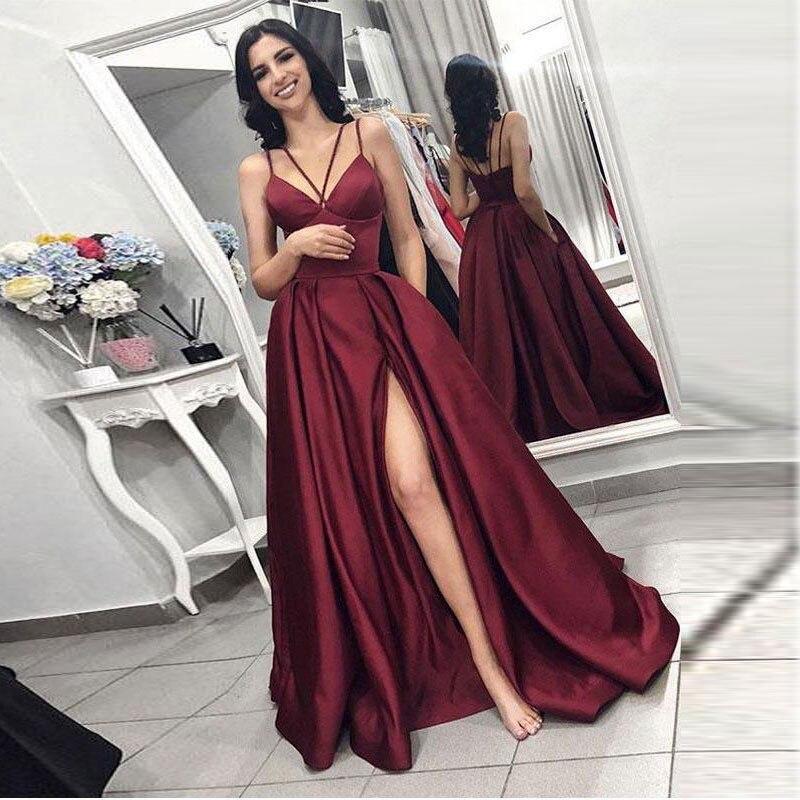 Autumn 2020 Prom Party Evening Dresses Vestido De Noiva Sereia Side Slit Robe De Soiree Vestido Novia Playa Formal Spaghetti