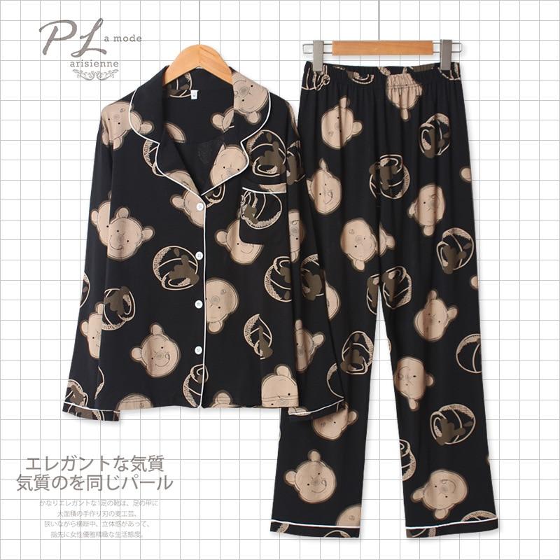 Spring 100% Cotton Pajamas Women Long Sleeve Trousers Cartoon Printing Pyjamas Turn-down Collar Loungewear 2 Piece Sleepwear