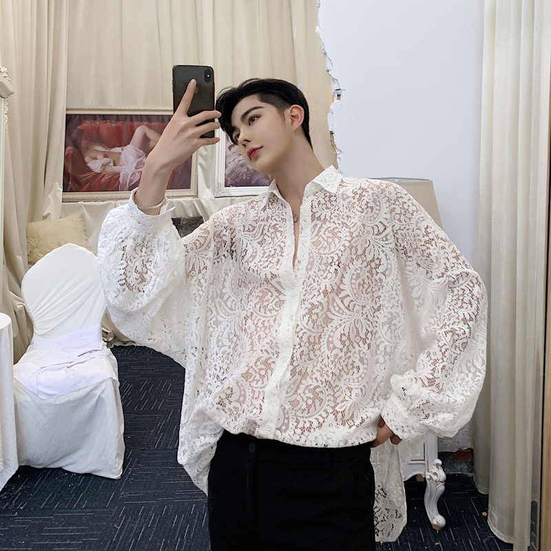 Men Loose Long Sleeve Translucent Lace Shirt Male Women Streetwear Hip Hop Party Casual Dress Shirts Lovers Clothes
