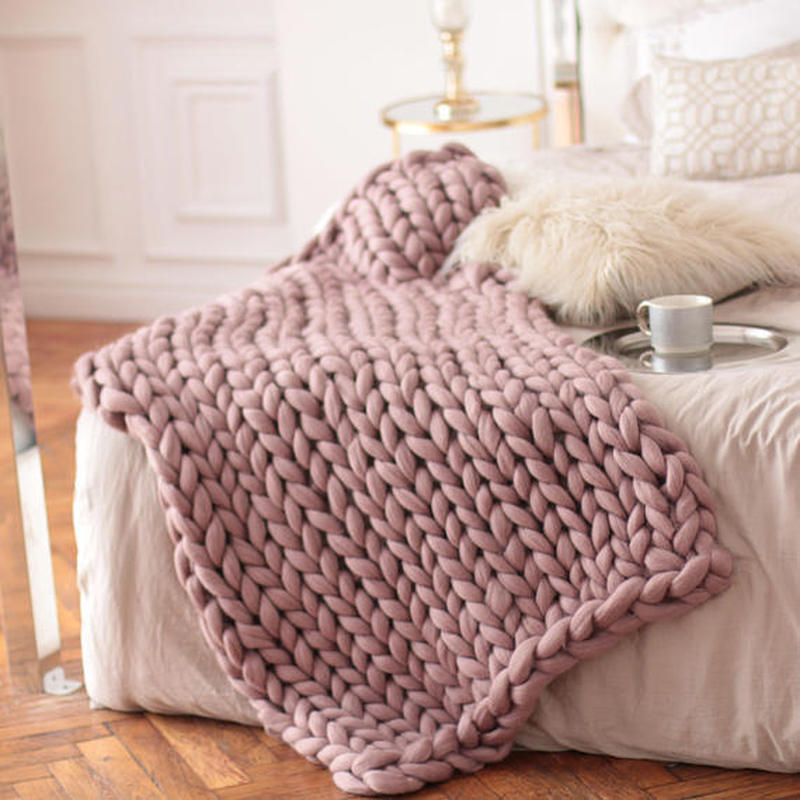 Fashion Hand Knitting Chunky Merino Wool Blanket Thick Big Yarn Roving Knitted Yarns Blanket Warm Throw Sofa Cover Blankets