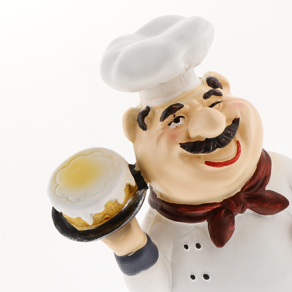 CLISPEED Chef Decorations Resin Chef Ornaments Kitchen Sculpture Cook Statue French Chef Figurines for Hotel Home Decoration Style 2