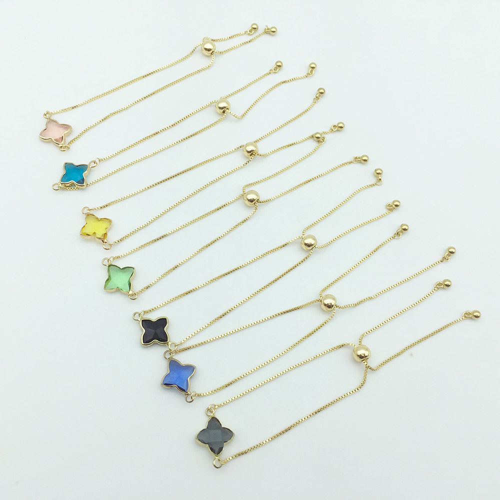 New Trendy Bohemian Korean Style Adjustable Lucky Lady Bracelet With Crystal Stone Four Clover Leaf Bracelet Jewelry Lover Gift(China)