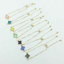 New Trendy Bohemian Korean Style Adjustable Lucky Lady Bracelet With Crystal Stone Four Clover Leaf Jewelry Lover Gift