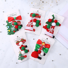 4 pieces / set of Christmas hair clips Santa hat tree childrens accessories Headwear princess gifts