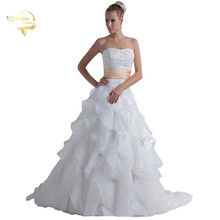 Jeanne Love Fashion A Line New Wedding Dresses Strapless Button Beading Embroidery Bridal Dress 2017 Robe De Mariage JLOV75941