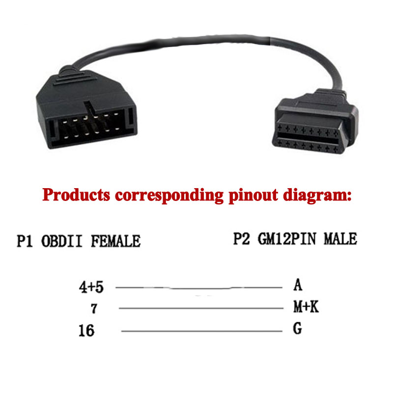 60cm OBD2 Extension For Daewoo 12 Pin OBD2 OBDII Male To 16 Pin Female Car Diagnostic Tool Adapter OBD2 Adapter Extension Cable