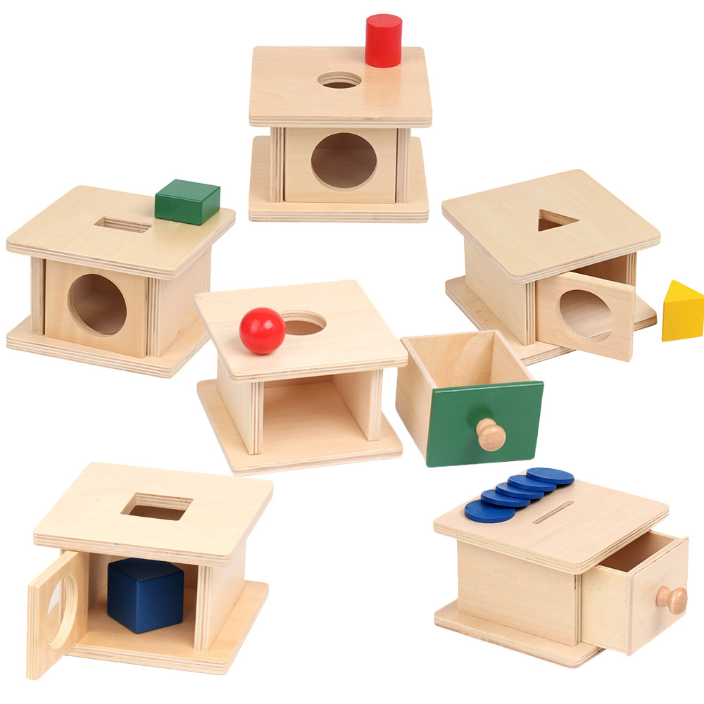 Montessori Geometric Shape Matching Box Sensory Toys Imbucare Box Early Learnng Toys For Toddlers Juguetes Montessori A1065H