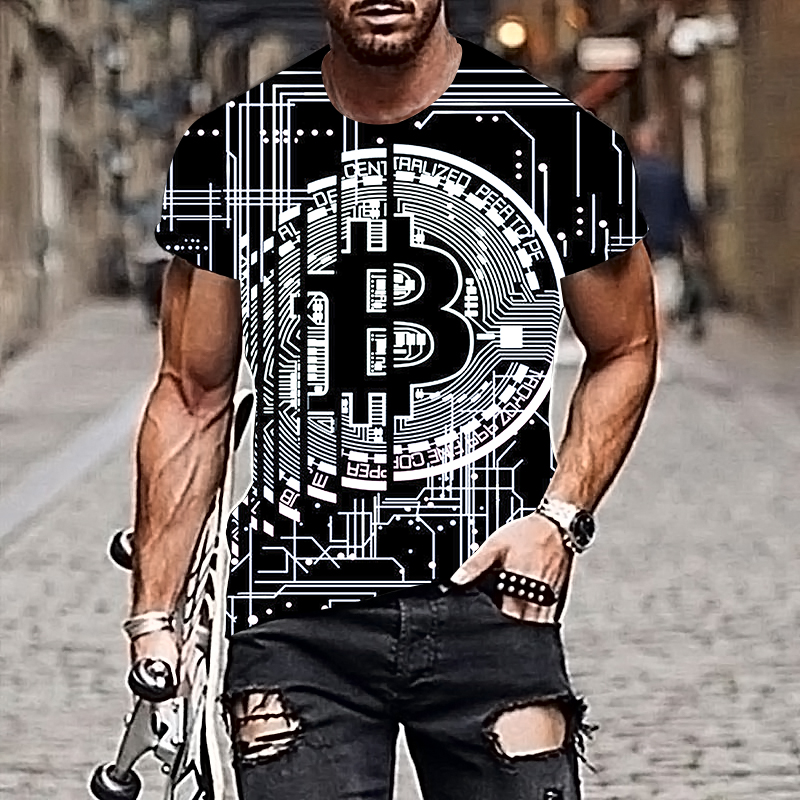 2021 Harajuku Men T-shirt Bitcoin Pattern Style 3D Printing Hip-hop Cool Handsome Plus Size Adult Clothes 6