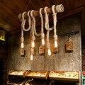 Американский стиль Сельский персонализированный ресторан люстра из пеньковой веревки в стиле ретро промышленный стиль креативный кофе ба...