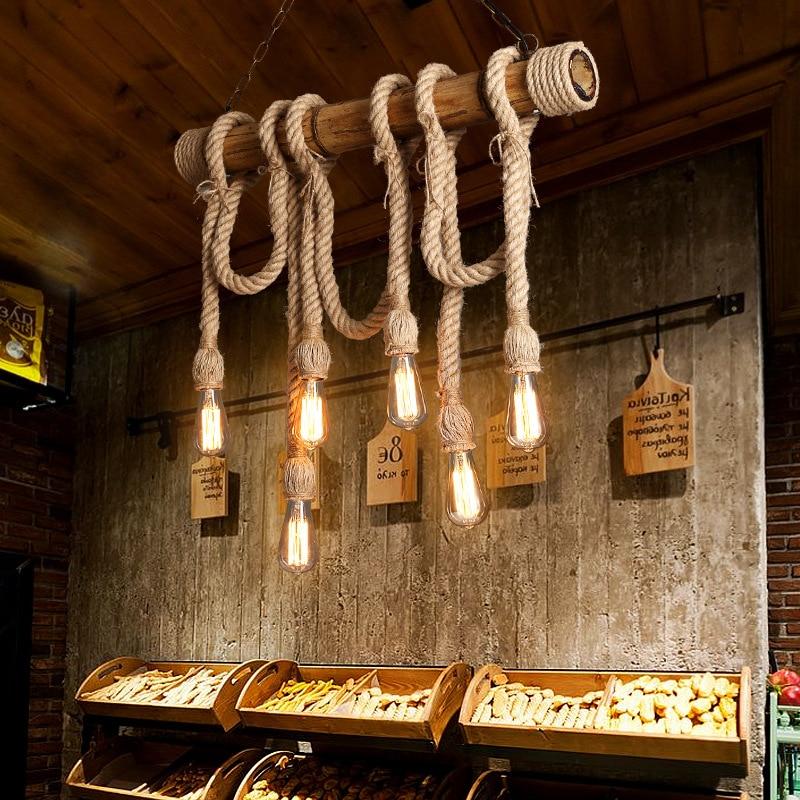 Style américain rural personnalisé restaurant rétro chanvre corde lustre style industriel créatif café bar décoration lampe