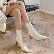 Women's Shoes Middle-Boots Square Toe Anti-Skid High-Quality Stylish Patent SOPHITINA