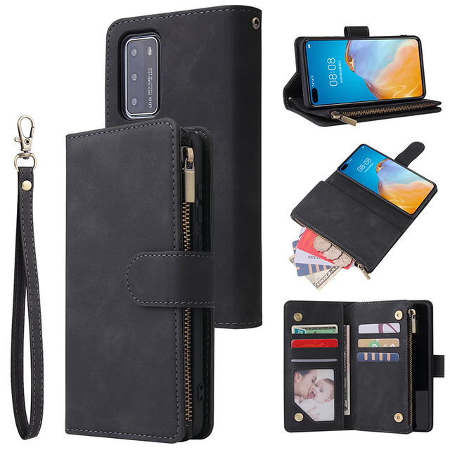Zipper Wallet Leather Phone Case For Huawei P40 Pro P30 Lite Mate 30 Pro Honor 20 10i P Smart 2019 Flip Case Book Magnetic Case