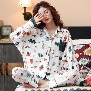 Image 4 - Bzel 2020 Leisure Katoen Nachtkleding Pyjama Vrouwen Kleding Lange Mouw Tops Set Dames Pijama Sets Night Pak Thuis Dragen Grote size