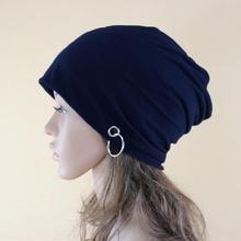 Women Men Autumn Winter Warm Knitted Cap Fashion Metal Ring Beanie Cap