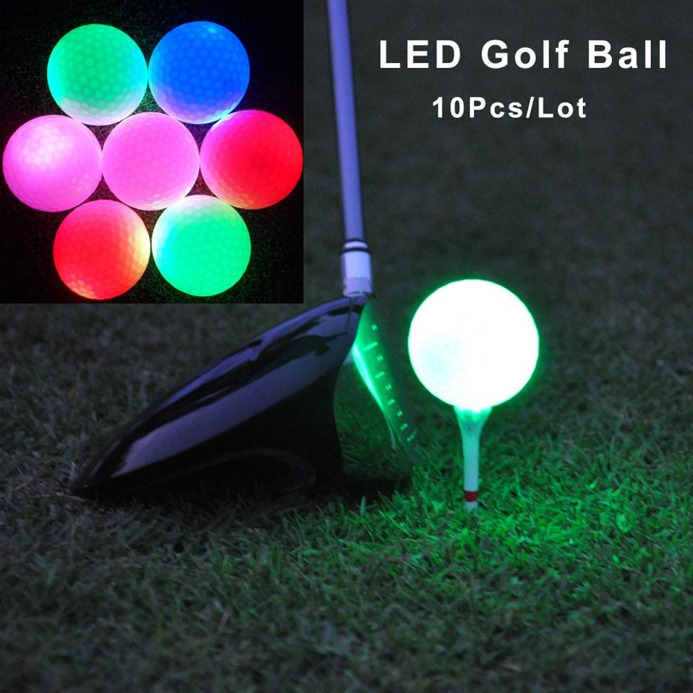 10PCS LED Light Up Golf Balls Glow Flashing In The Dark Night Golf Balls Multi Color Training Golf Practice Balls Kids Gifts