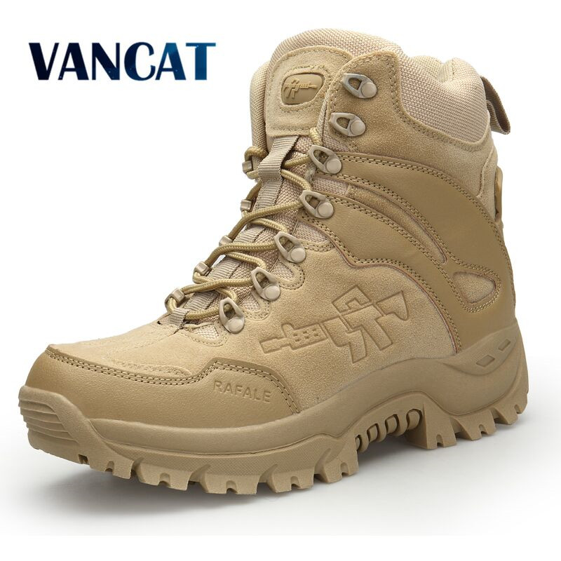 Vancat Big Size 39-46 Desert Tactical Mens Boots Wear-resisting Army Boots Men Waterproof Outdoor Hiking Men Combat Ankle Boots