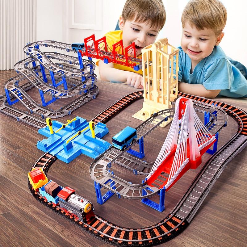 Autorama électrique Train de piste ensemble classique jouets Magicl chemin de fer voiture circuit voiture pistes de course automatiques pour garçon enfants jouets