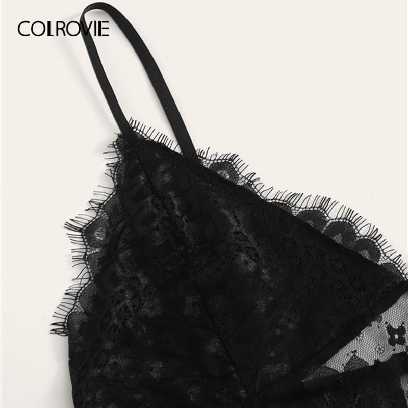 COLROVIE Black Eyelash Floral Lace Lingerie Set Sexy Intimates Women 2019 New Solid Lingerie Set Underwear Bra Set Women Women's Clothings Women's Lingeries cb5feb1b7314637725a2e7: black