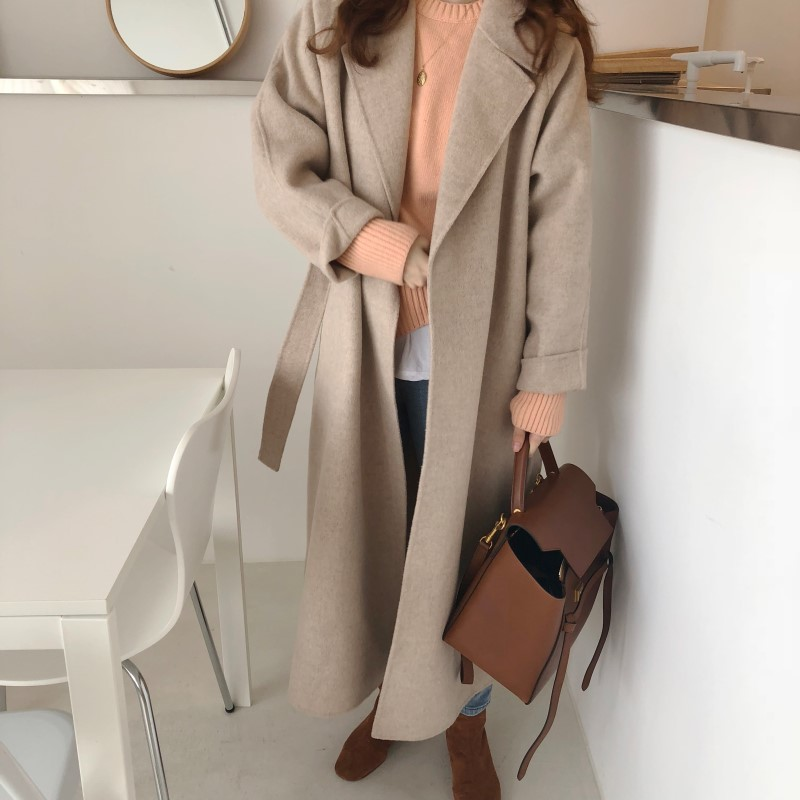 19 Winter Oversize Long Trench Coat Women Cashmere Coat Korean Lady Windbreaker Outwear Streetwear 85