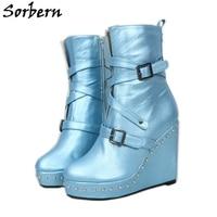Sorbern Wedge Heels Ankle Boots For Women Platform Shoe Triple Straps Buckle Rivets Designer Boots Women Round Toe Unisex Boot