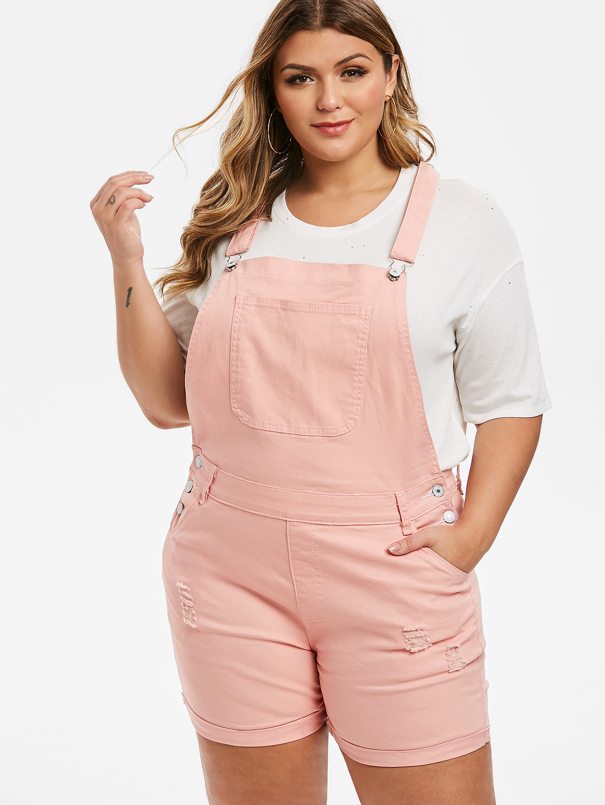 Rosegal 5XL Summer Women'S Denim Playsuits Pockets Ripped Pant Cuffed Distressed Jumpsuits Plus Size Denim Overall Shorts Romper