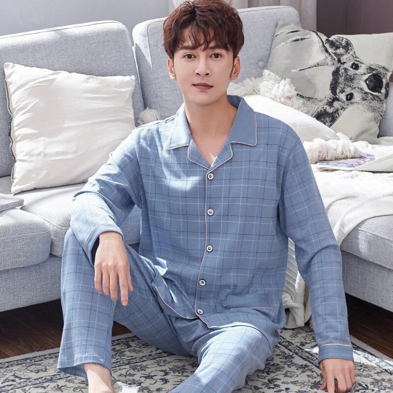 Spring Man's 100% Cotton Pajamas Sets 2 PCS Lounge Sleepwear Men Pijamas Suit Plaid Nightwear Home Clothes Pure Cotton Pyjamas