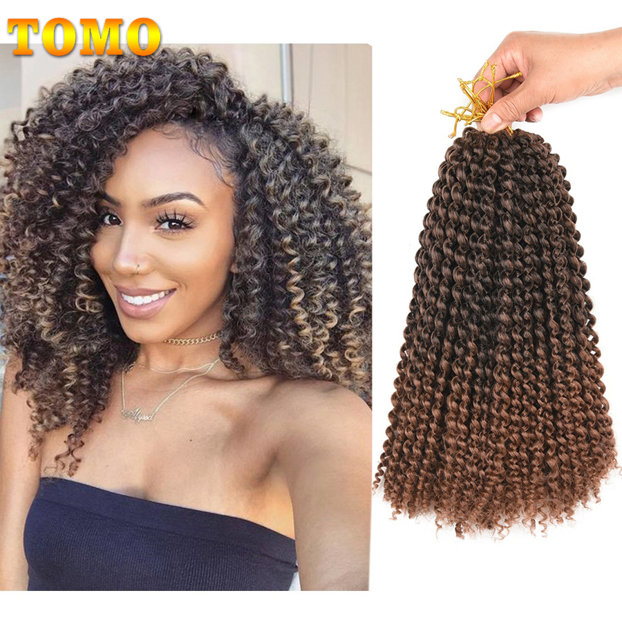 TOMO Marlybob Crochet Braids Hair Afro Kinky Curly Synthetic Braiding Hair Extensions For Black Women 12Inch 22Roots Ombre Brown