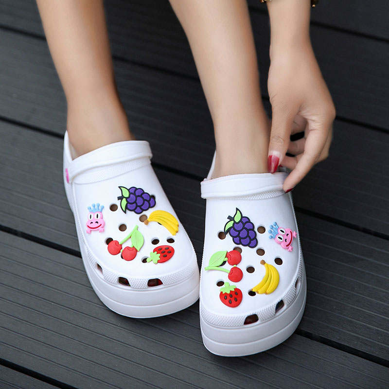 Women's Slippers Fashion Casual Hollow Out Slippers Women High Heels 6CM Thick Platforms Shoes Clogs Slippers Flip Flops Women
