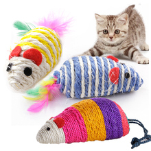 Kitten Mouse Toy Pet Cat Scratch Board Sisal Scratching Pad Chewing False Mice Supplie Random Color