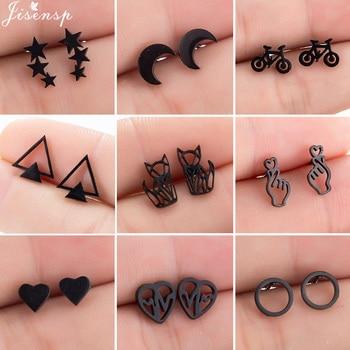 Black Stainless Steel Fox Earrings Women pendientes mujer Geometric Heart Round Star Moon Stud Hip hop Ear Jewelry - discount item  40% OFF Fashion Jewelry