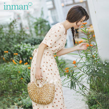 INMAN Summer New Arrival Japanese Style Simple Design Back Tie Fit Round Collar Shot Sleeve Dot Pattern Long Dress(China)