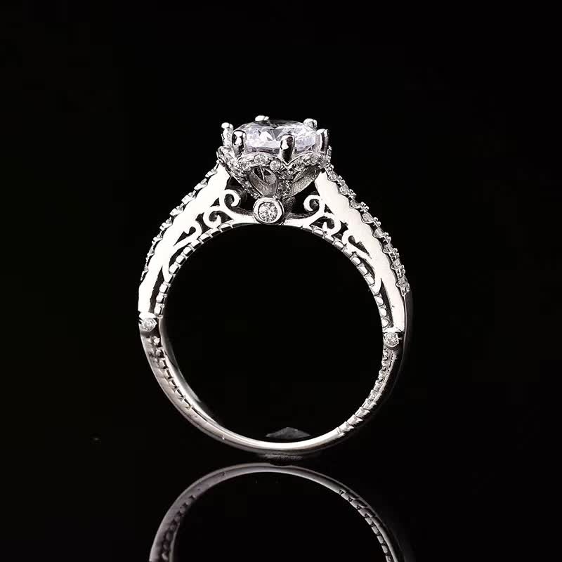Lace S925 Sterling Silver Ring 1ct D Color Moissanite Rings Hollow out Women Fine Jewelry Certificate Drop Shipping