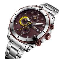 Megir relógio de pulso de quartzo masculino relógios de aço inoxidável banda de parada de negócios homem moda casual relógio à prova dwaterproof água luxo chronograp Relógios de quartzo     -