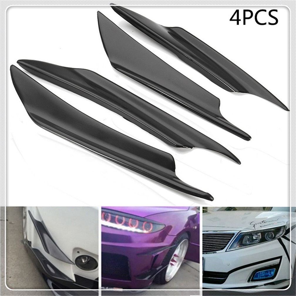 Splitter Front Spoiler Air Knife Car Bumper Lip 4Pcs//Set Universal Carbon Fiber Bumper Canards Lip Spoiler Fit for Honda