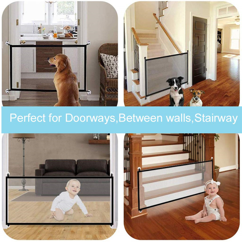 Wood - 1PC Magic Dog Gate Ingenious Mesh Dog Fence For Indoor and Outdoor Safe Pet Dog gate Safety Enclosure Pet supplies