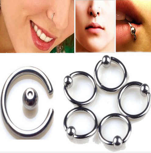 5pcs Pack Surgical Steel Captive Bead Ring Ear Hoop Nose Ring