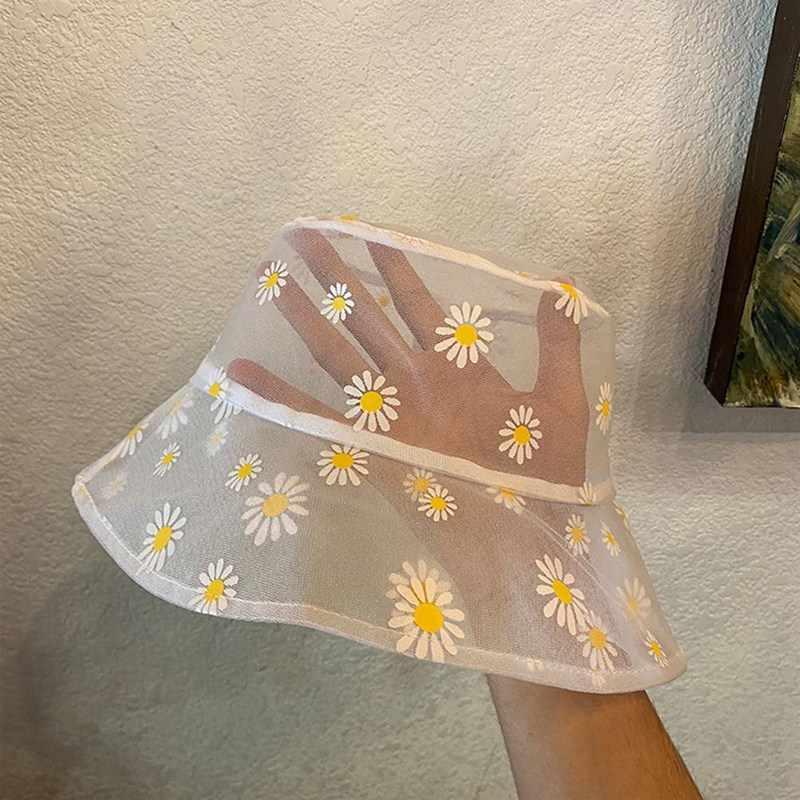 Pâquerettes brodées seaux chapeau Transparent Panama femmes dentelle fleur plage chapeaux haut haut Snapback mode Daisy chapeau de soleil été