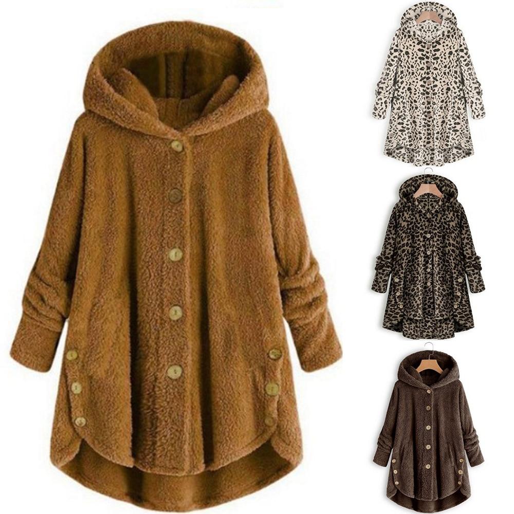 OEAK 2019 Winter Leopard Coat Fashion Women Button Solid Color Hooded Jacket Teddy Coat Women Warm Jacket Casual Hoodies