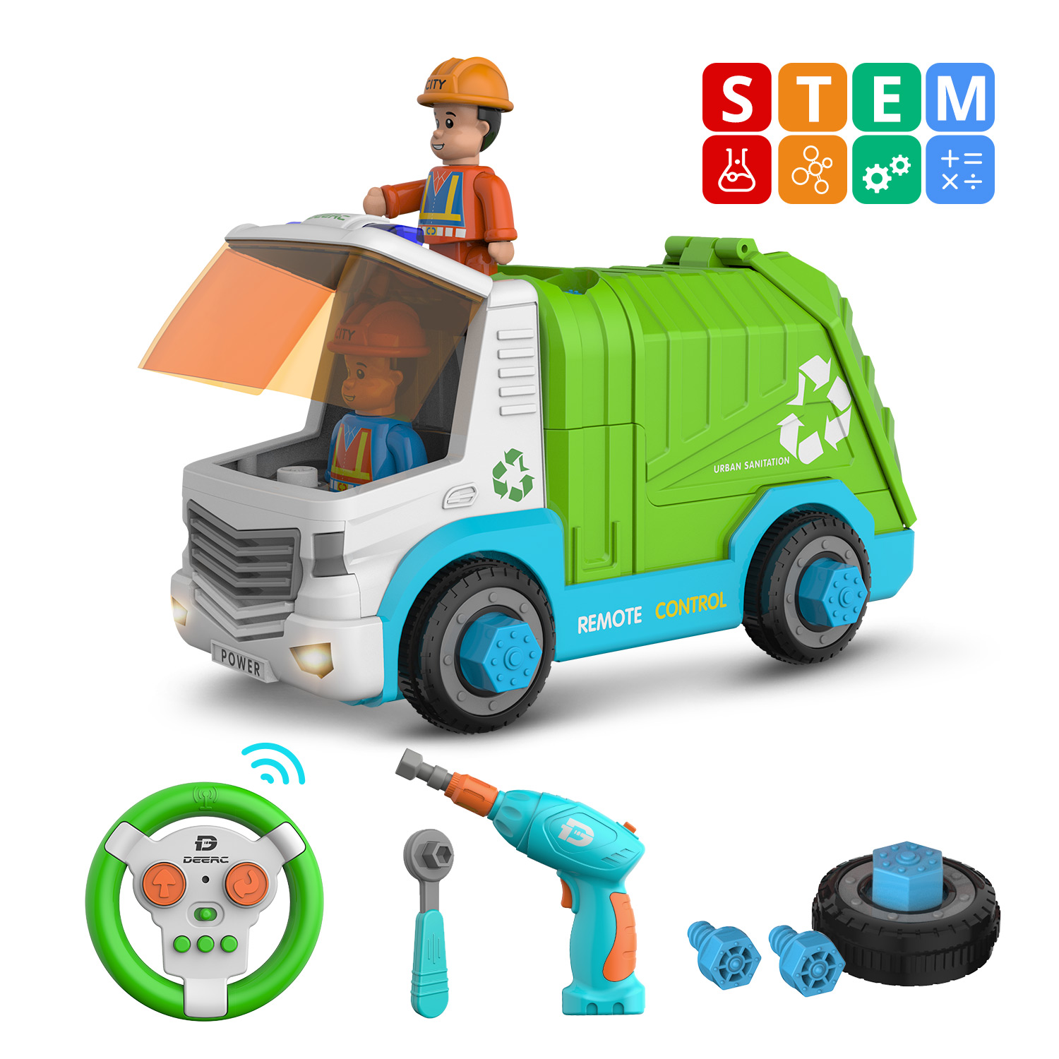 DEERC RC Car Sanitation Rubbish Garbage Truck Disassembly oys Tool Cars Remote Control Trucks for Children Boys Kids Assemble