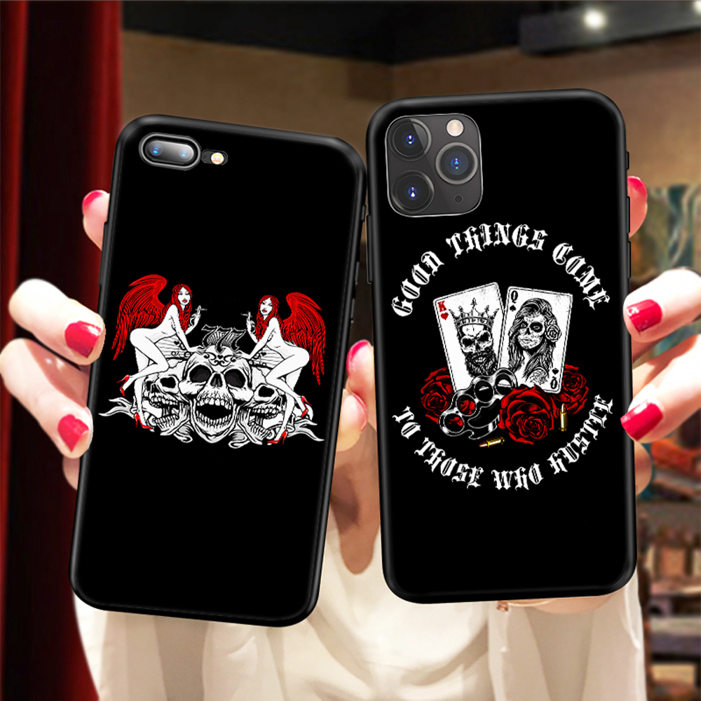 Fashion Skull Playing Card Roses <font><b>Sex</b></font> Beauty TPU <font><b>Case</b></font> for <font><b>iPhone</b></font> 11 Pro Max X 5 6S XR XS <font><b>7</b></font> 8 <font><b>Plus</b></font> <font><b>Case</b></font> Silicone Cheap Phone Cover image