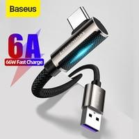 Baseus 6A USB tipo C cavo per Huawei P40 P30 Mate 40 30 Pro 66W Supercharge ricarica rapida 3.0 ricarica rapida USB-C cavo di ricarica