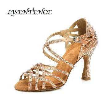 Latin dance shoes women Bronze satin Shining Rhinestone cuban high heels 9cm 10 cm Salsa Ballroom dancing shoes LJSENTENCE g d wilson cuban dance op 86