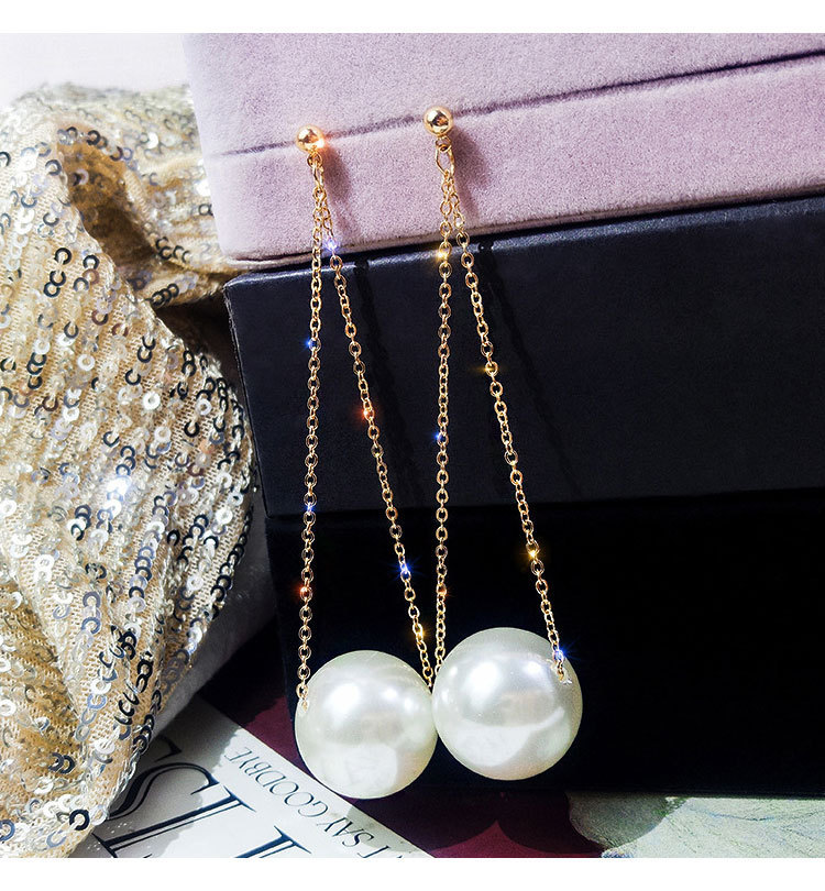 New Design Long Elegant Created Big Simulated Pearl Clip Earrings Pearls Statement Charm Earrings Clip For Wedding Party Gift
