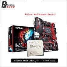 AMD Ryzen 5 2600 R5 % 2600 orijinal kullanılan CPU + GIGABYTE GA B450M oyun orijinal yeni anakart takım soket AM4 olmadan soğutucu