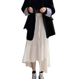 Image 5 - LANMREM katı renk elastik yüksek bel dikiş Ruffled düzensiz Pleats kadın etek basit moda 2020 sonbahar yeni TV518